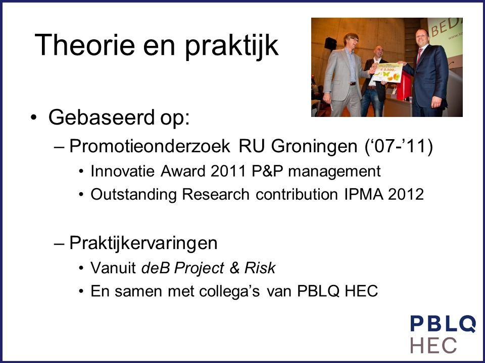 Theorie en praktijk Gebaseerd op: –Promotieonderzoek RU Groningen ('07-'11) Innovatie Award 2011 P&P management Outstanding Research contribution IPMA