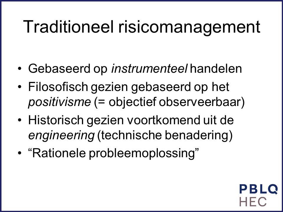 Traditioneel risicomanagement Gebaseerd op instrumenteel handelen Filosofisch gezien gebaseerd op het positivisme (= objectief observeerbaar) Historis