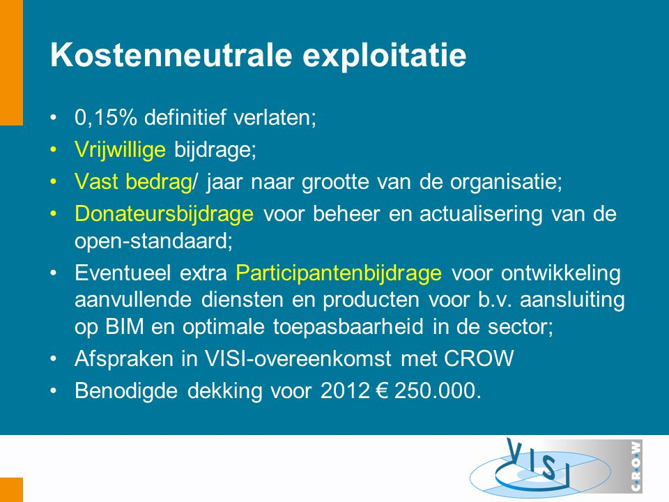 Kostenneutrale exploitatie 0,15% definitief verlaten; Vrijwillige bijdrage; Vast bedrag/ jaar naar grootte van de organisatie; Donateursbijdrage voor beheer en actualisering van de open-standaard; Eventueel extra Participantenbijdrage voor ontwikkeling aanvullende diensten en producten voor b.v.
