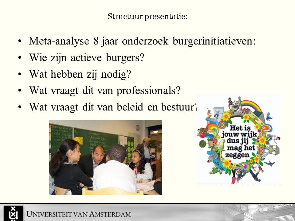Structuur presentatie: Meta-analyse 8 jaar onderzoek burgerinitiatieven: Wie zijn actieve burgers.