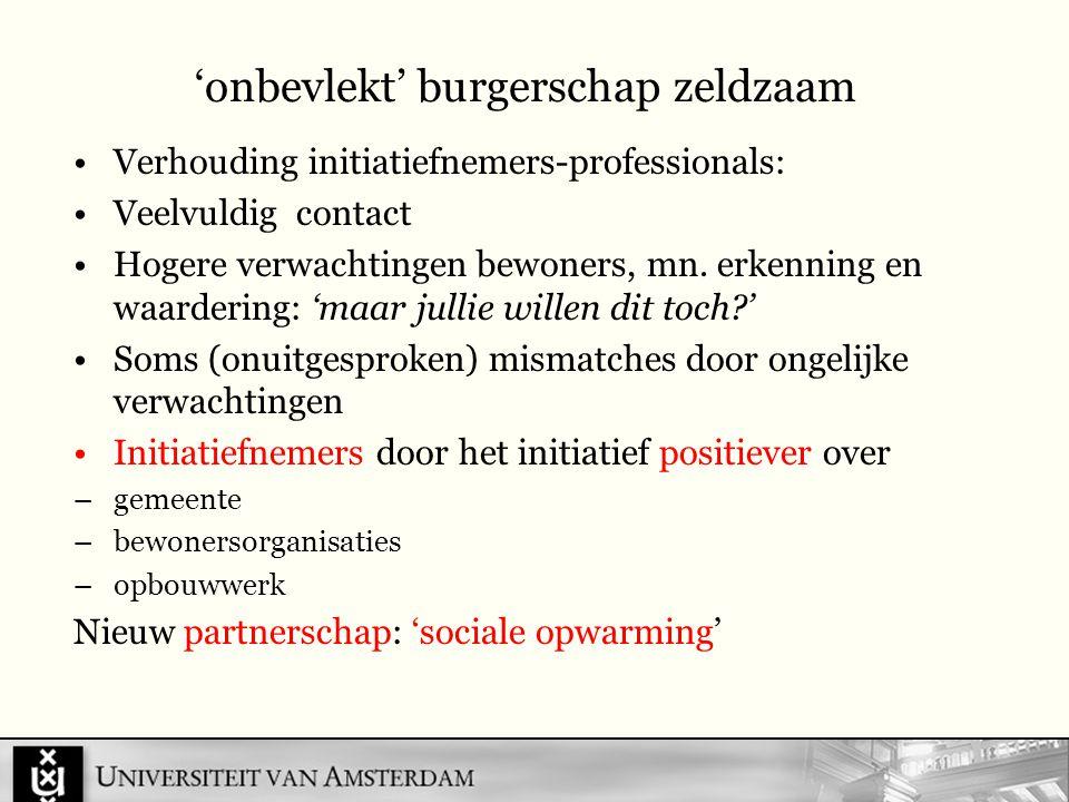 'onbevlekt' burgerschap zeldzaam Verhouding initiatiefnemers-professionals: Veelvuldig contact Hogere verwachtingen bewoners, mn.