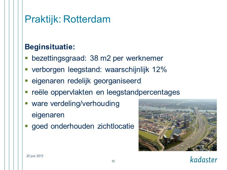 20 juni 2013 15 Praktijk: Rotterdam Beginsituatie:  bezettingsgraad: 38 m2 per werknemer  verborgen leegstand: waarschijnlijk 12%  eigenaren redelijk georganiseerd  reële oppervlakten en leegstandpercentages  ware verdeling/verhouding eigenaren  goed onderhouden zichtlocatie