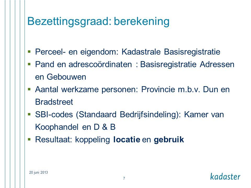 20 juni 2013 7 Bezettingsgraad: berekening  Perceel- en eigendom: Kadastrale Basisregistratie  Pand en adrescoördinaten : Basisregistratie Adressen