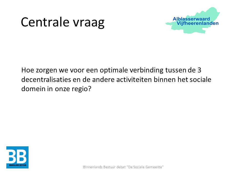 Centrale vraag Hoe zorgen we voor een optimale verbinding tussen de 3 decentralisaties en de andere activiteiten binnen het sociale domein in onze regio.