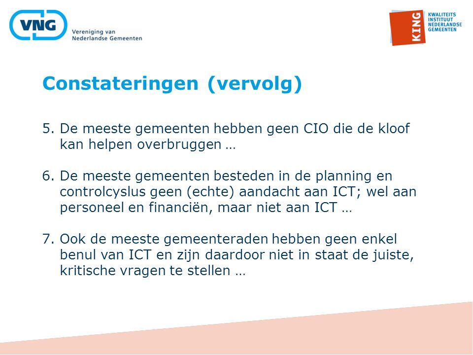 Constateringen (vervolg) 5.De meeste gemeenten hebben geen CIO die de kloof kan helpen overbruggen … 6.De meeste gemeenten besteden in de planning en
