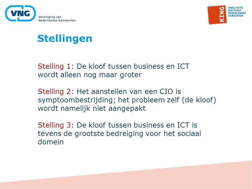 Stelling 1: De kloof tussen business en ICT wordt alleen nog maar groter Stelling 2: Het aanstellen van een CIO is symptoombestrijding; het probleem z