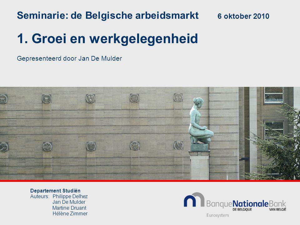 Departement Studiën Auteurs:Philippe Delhez Jan De Mulder Martine Druant Hélène Zimmer Seminarie: de Belgische arbeidsmarkt 6 oktober 2010 1.