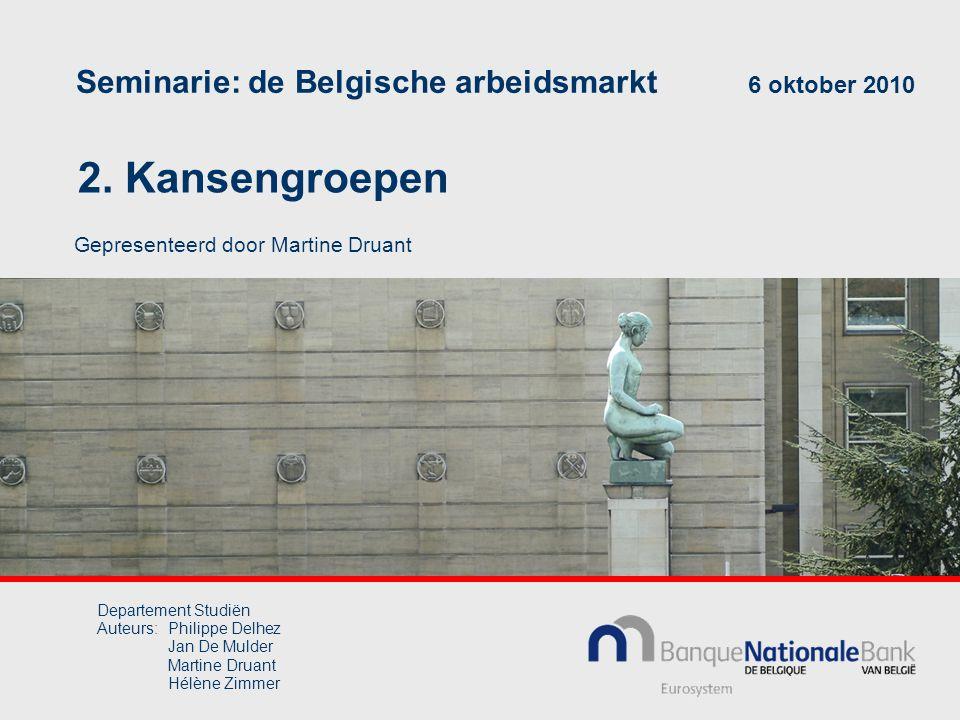 2. Kansengroepen Seminarie: de Belgische arbeidsmarkt 6 oktober 2010 Gepresenteerd door Martine Druant Departement Studiën Auteurs:Philippe Delhez Jan