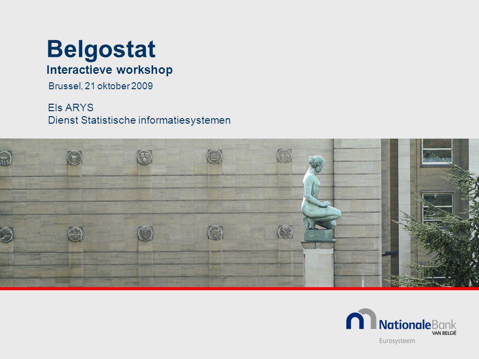 Belgostat Interactieve workshop Els ARYS Dienst Statistische informatiesystemen Brussel, 21 oktober 2009