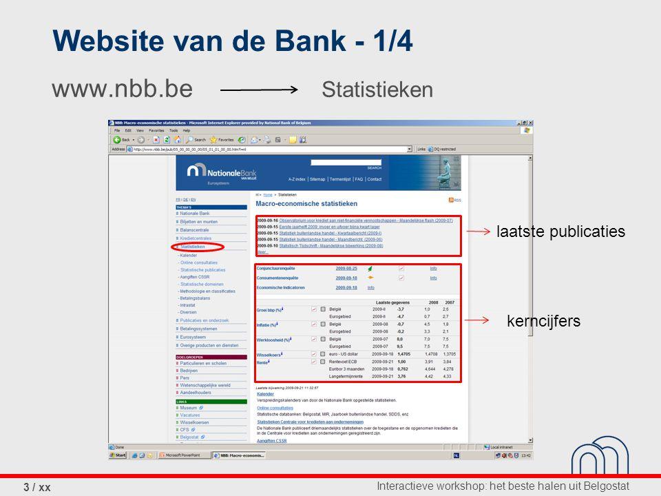 Interactieve workshop: het beste halen uit Belgostat 4 / xx Website van de Bank - 2/4 toelichting bij de opzet, de methodologie, de referenties, de contactpersonen