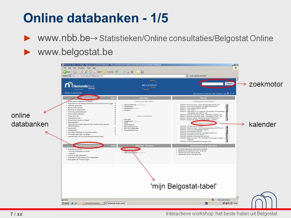 Interactieve workshop: het beste halen uit Belgostat 7 / xx Online databanken - 1/5 ► www.nbb.be Statistieken/Online consultaties/Belgostat Online ► www.belgostat.be online databanken zoekmotor kalender mijn Belgostat-tabel