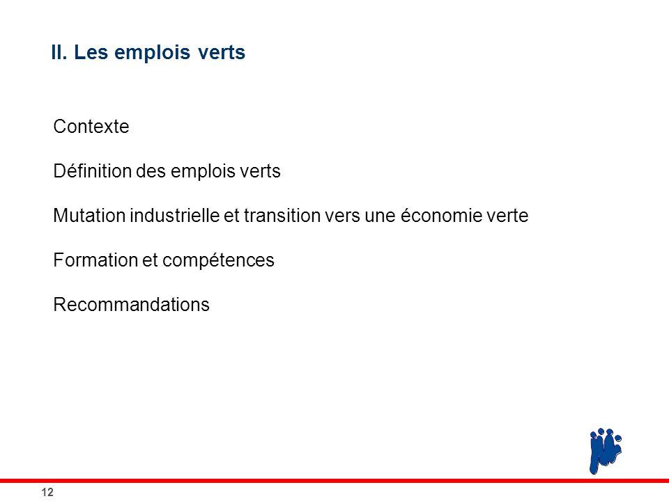 12 II. Les emplois verts Contexte Définition des emplois verts Mutation industrielle et transition vers une économie verte Formation et compétences Re