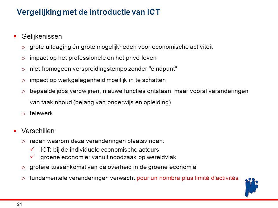 21 Vergelijking met de introductie van ICT  Gelijkenissen o grote uitdaging én grote mogelijkheden voor economische activiteit o impact op het profes