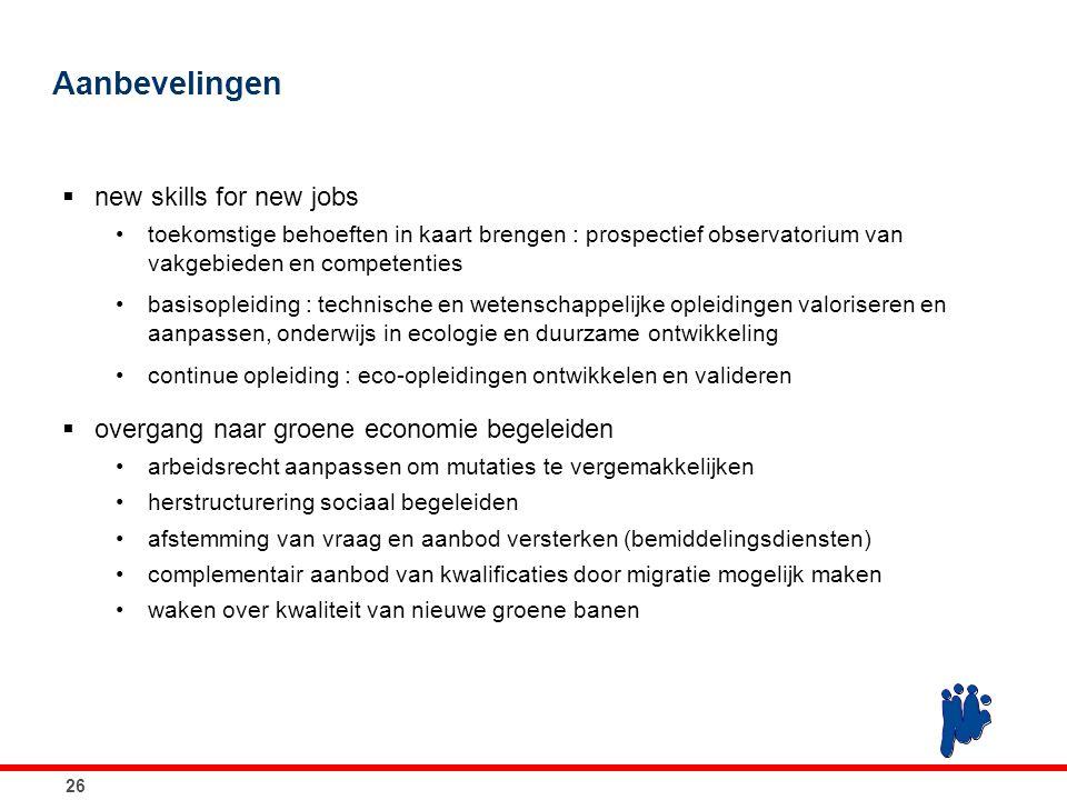 26 Aanbevelingen  new skills for new jobs toekomstige behoeften in kaart brengen : prospectief observatorium van vakgebieden en competenties basisopl