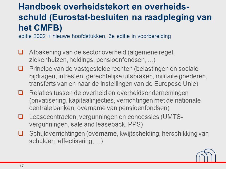 Handboek overheidstekort en overheids- schuld (Eurostat-besluiten na raadpleging van het CMFB) editie 2002 + nieuwe hoofdstukken, 3e editie in voorber