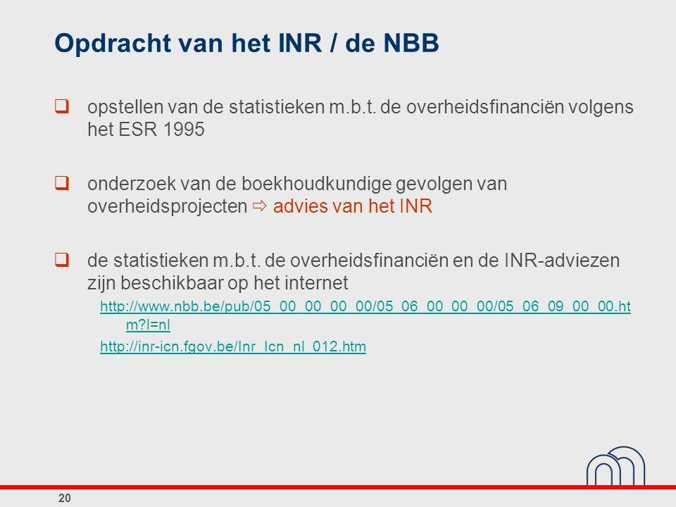 De overheid in België (S.13)  Centrale overheid (S.1311): Belgische Staat + administratieve entiteiten van openbaar nut  Gewesten en gemeenschappen (S.1312): 3 gemeenschappen, 3 gewesten, 3 gemeenschapscommissies + administratieve entiteiten van openbaar nut  Lokale overheid (S.1313): 10 provincies, 589 gemeenten, 589 OCMW s,196 politiezones + andere lokale entiteiten die niet-marktproducent zijn  Sociale Zekerheid (S.1314): wettelijke sociale-verzekeringsinstellingen 21