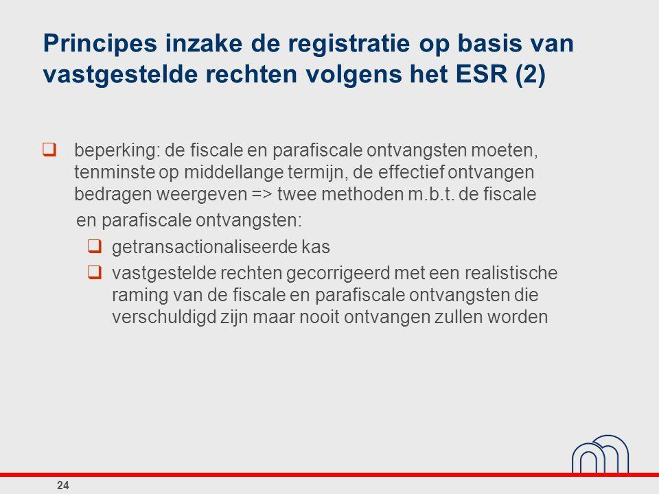 Principes inzake de registratie op basis van vastgestelde rechten volgens het ESR (2)  beperking: de fiscale en parafiscale ontvangsten moeten, tenmi
