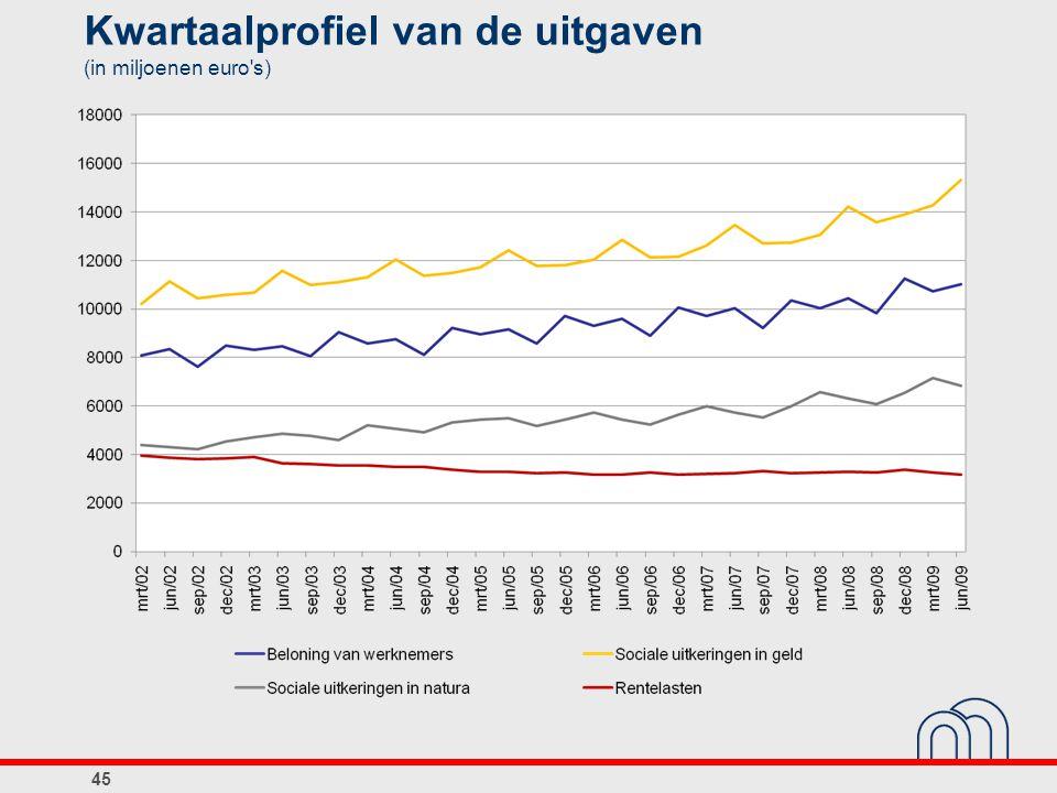 Kwartaalprofiel van de uitgaven (in miljoenen euro's) 45