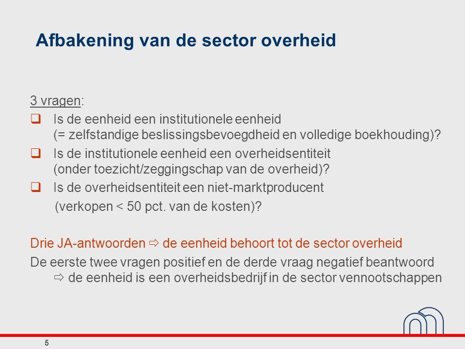 Afbakening van de sector overheid 3 vragen:  Is de eenheid een institutionele eenheid (= zelfstandige beslissingsbevoegdheid en volledige boekhouding
