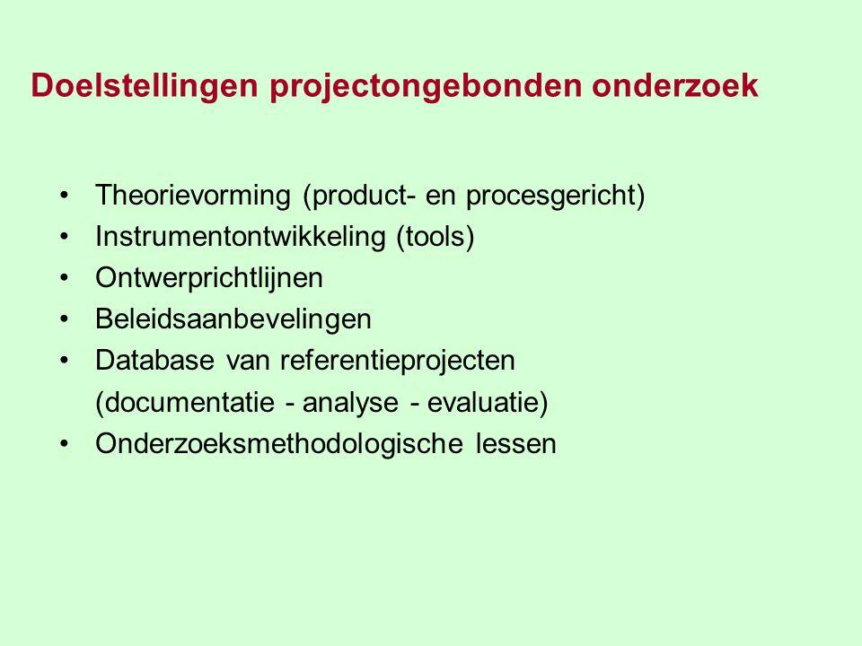 Doelstellingen projectongebonden onderzoek Theorievorming (product- en procesgericht) Instrumentontwikkeling (tools) Ontwerprichtlijnen Beleidsaanbevelingen Database van referentieprojecten (documentatie - analyse - evaluatie) Onderzoeksmethodologische lessen