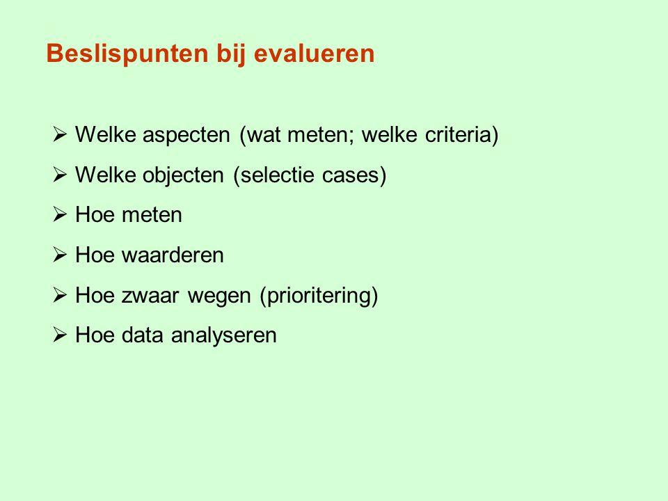 Beslispunten bij evalueren  Welke aspecten (wat meten; welke criteria)  Welke objecten (selectie cases)  Hoe meten  Hoe waarderen  Hoe zwaar wegen (prioritering)  Hoe data analyseren