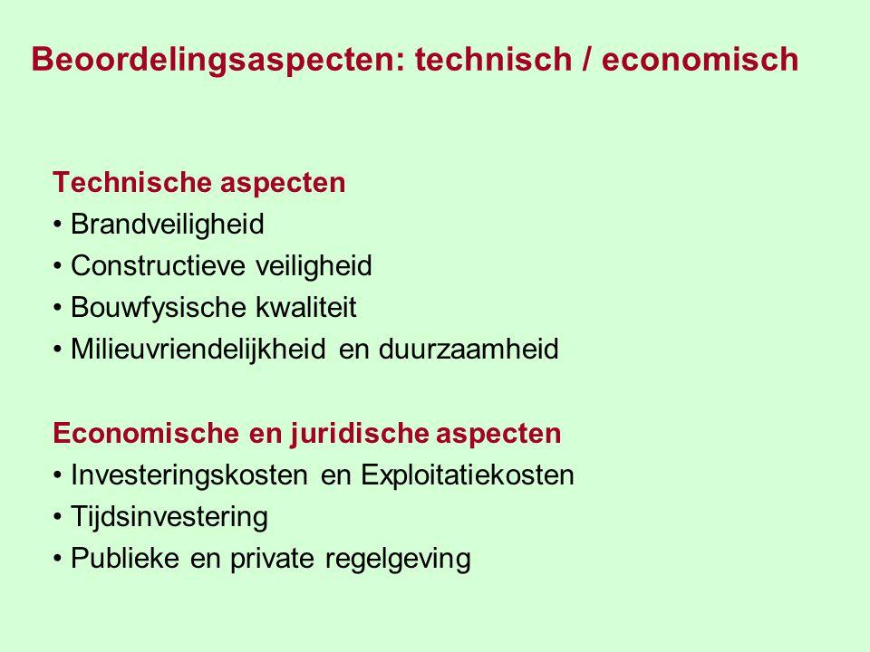 Beoordelingsaspecten: technisch / economisch Technische aspecten Brandveiligheid Constructieve veiligheid Bouwfysische kwaliteit Milieuvriendelijkheid en duurzaamheid Economische en juridische aspecten Investeringskosten en Exploitatiekosten Tijdsinvestering Publieke en private regelgeving