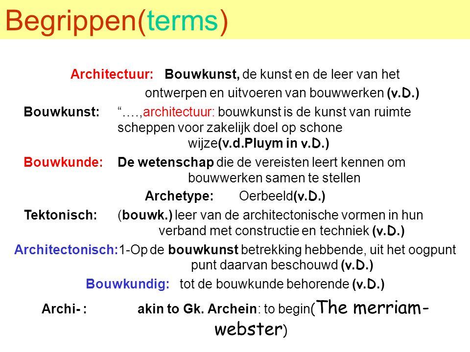 """Begrippen(terms) Architectuur:Bouwkunst, de kunst en de leer van het ontwerpen en uitvoeren van bouwwerken (v.D.) Bouwkunst:""""….,architectuur: bouwkuns"""
