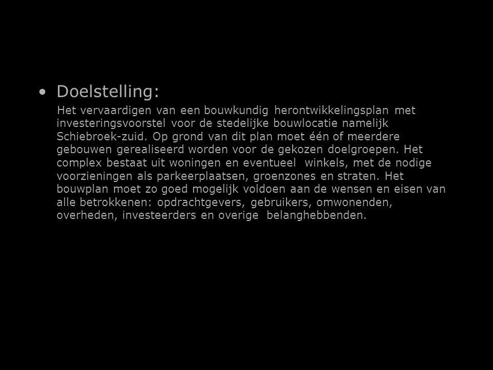Doelstelling: Het vervaardigen van een bouwkundig herontwikkelingsplan met investeringsvoorstel voor de stedelijke bouwlocatie namelijk Schiebroek-zuid.