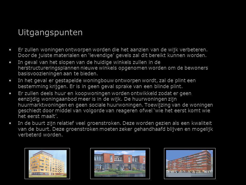 Uitgangspunten Er zullen woningen ontworpen worden die het aanzien van de wijk verbeteren.