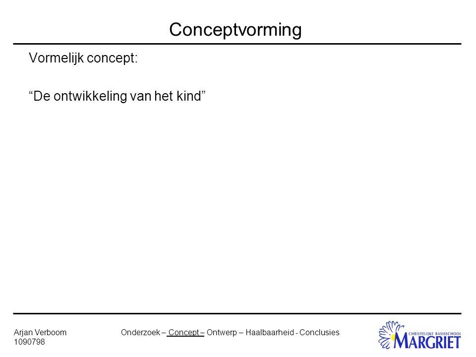 Onderzoek – Concept – Ontwerp – Haalbaarheid - ConclusiesArjan Verboom 1090798 Conceptvorming Vormelijk concept: De ontwikkeling van het kind