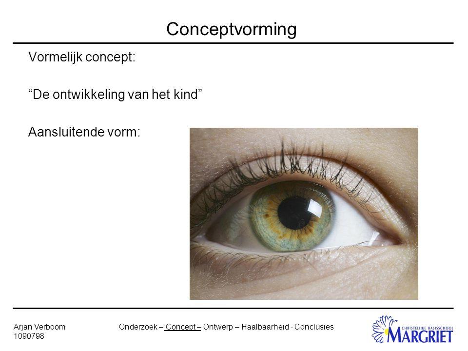 Onderzoek – Concept – Ontwerp – Haalbaarheid - ConclusiesArjan Verboom 1090798 Conceptvorming Vormelijk concept: De ontwikkeling van het kind Aansluitende vorm: