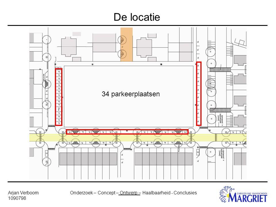 Onderzoek – Concept – Ontwerp – Haalbaarheid - ConclusiesArjan Verboom 1090798 De locatie 34 parkeerplaatsen