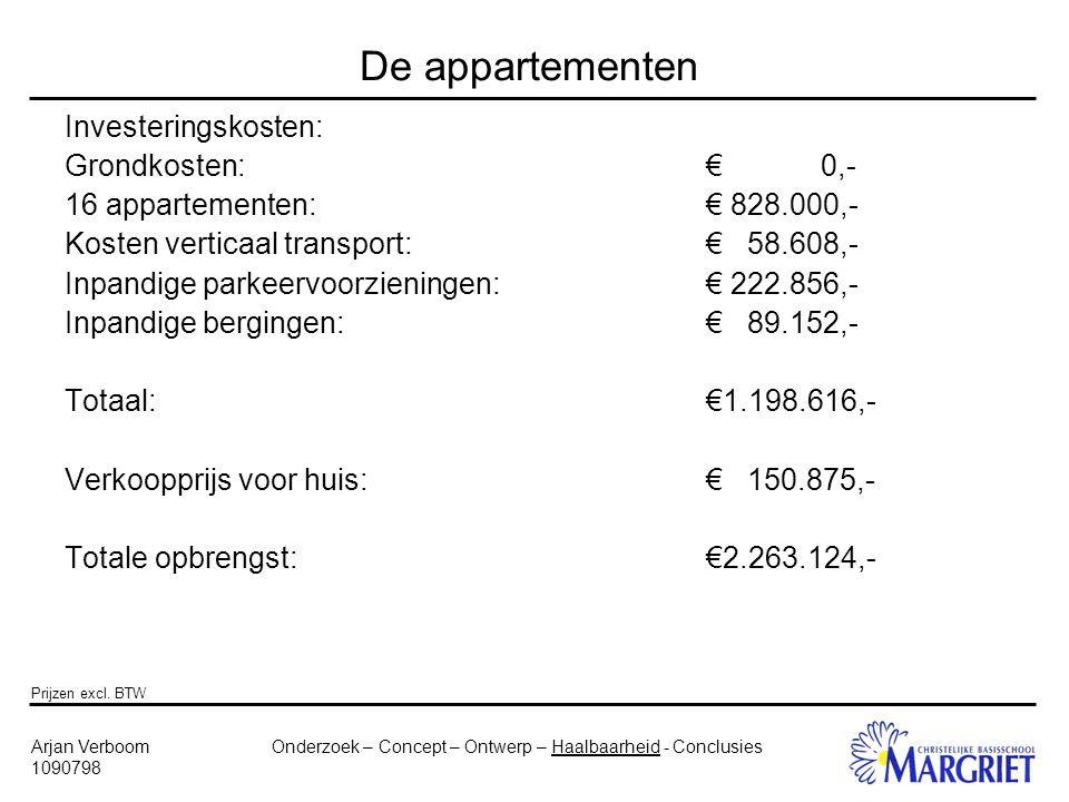 Onderzoek – Concept – Ontwerp – Haalbaarheid - ConclusiesArjan Verboom 1090798 De appartementen Investeringskosten: Grondkosten:€ 0,- 16 appartementen:€ 828.000,- Kosten verticaal transport:€ 58.608,- Inpandige parkeervoorzieningen:€ 222.856,- Inpandige bergingen:€ 89.152,- Totaal:€1.198.616,- Verkoopprijs voor huis:€ 150.875,- Totale opbrengst:€2.263.124,- Prijzen excl.