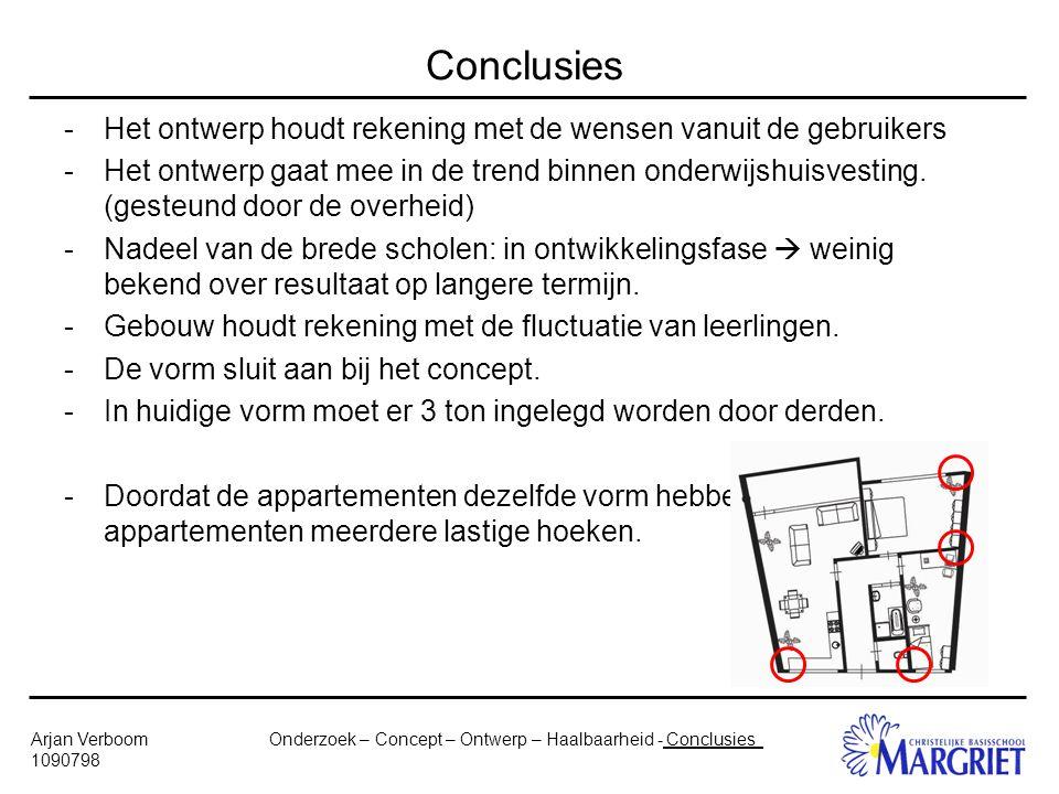 Onderzoek – Concept – Ontwerp – Haalbaarheid - ConclusiesArjan Verboom 1090798 Conclusies -Het ontwerp houdt rekening met de wensen vanuit de gebruikers -Het ontwerp gaat mee in de trend binnen onderwijshuisvesting.