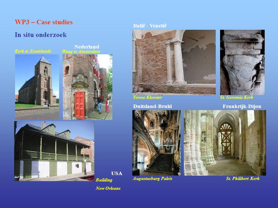 WP3 – Case studies In situ onderzoek Kerk te Zoutelande Waag te Amsterdam Nederland Italië - Venetië Terese KloosterSt. Geremia Kerk Building New Orle