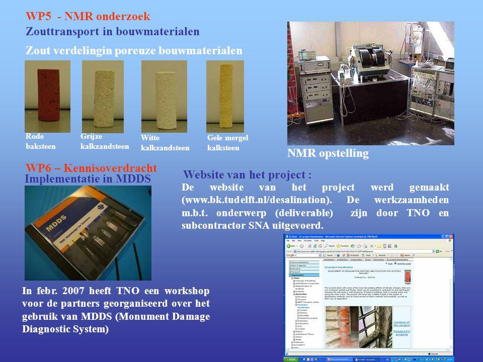 Zouttransport in bouwmaterialen WP5 - NMR onderzoek NMR opstelling Grijze kalkzandsteen Witte kalkzandsteen Rode baksteen Gele mergel kalksteen WP6 –