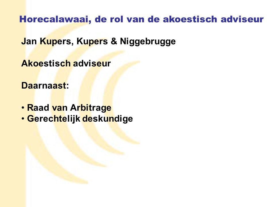1 Jan Kupers, Kupers & Niggebrugge Akoestisch adviseur Daarnaast: Raad van Arbitrage Gerechtelijk deskundige Horecalawaai, de rol van de akoestisch ad