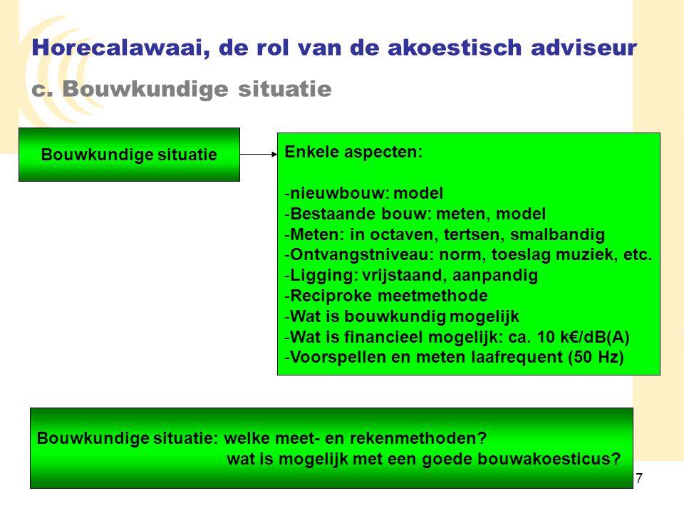7 Bouwkundige situatie Enkele aspecten: -nieuwbouw: model -Bestaande bouw: meten, model -Meten: in octaven, tertsen, smalbandig -Ontvangstniveau: norm