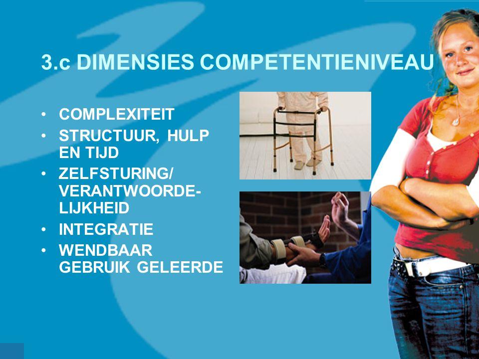 werkveldconferentie maart 2006 3.c DIMENSIES COMPETENTIENIVEAU COMPLEXITEIT STRUCTUUR, HULP EN TIJD ZELFSTURING/ VERANTWOORDE- LIJKHEID INTEGRATIE WEN