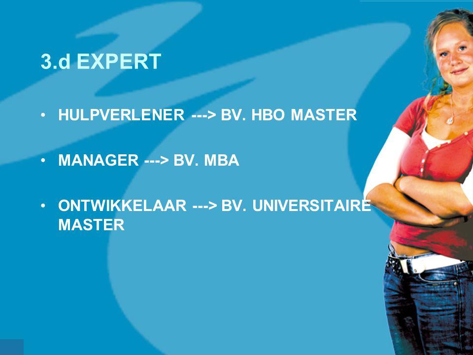 werkveldconferentie maart 2006 3.d EXPERT HULPVERLENER ---> BV. HBO MASTER MANAGER ---> BV. MBA ONTWIKKELAAR ---> BV. UNIVERSITAIRE MASTER