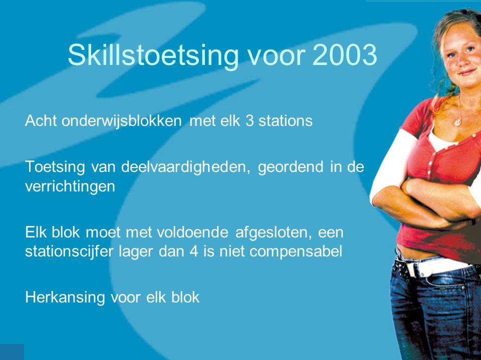 Skillstoetsing voor 2003 Acht onderwijsblokken met elk 3 stations Toetsing van deelvaardigheden, geordend in de verrichtingen Elk blok moet met voldoe