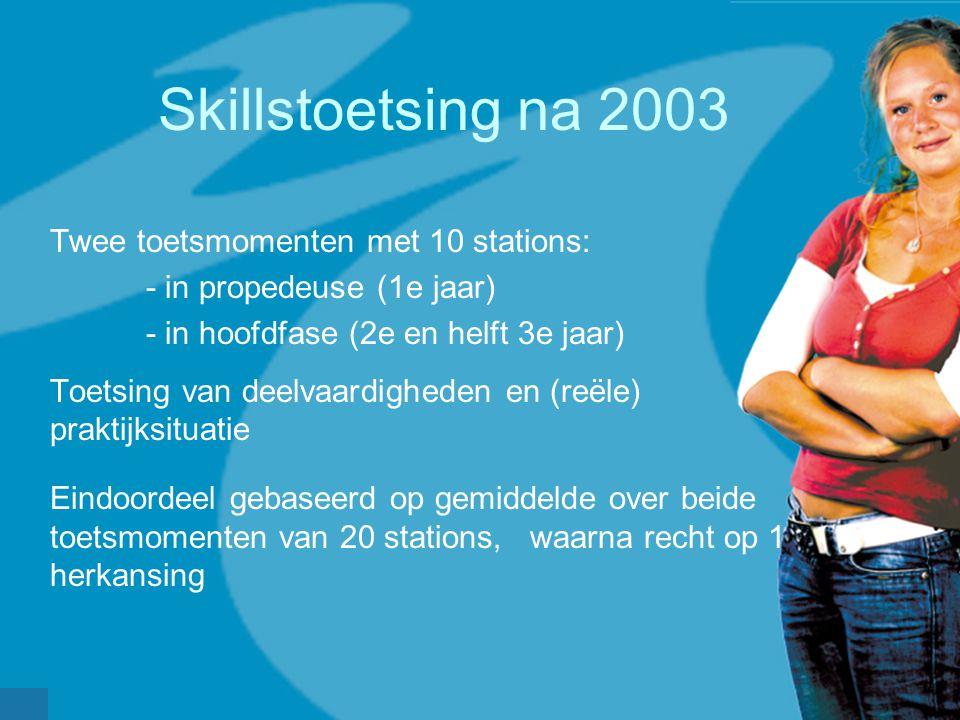 Skillstoetsing na 2003 Twee toetsmomenten met 10 stations: - in propedeuse (1e jaar) - in hoofdfase (2e en helft 3e jaar) Toetsing van deelvaardighede
