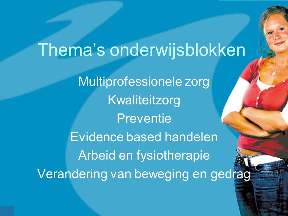 Thema's onderwijsblokken Multiprofessionele zorg Kwaliteitzorg Preventie Evidence based handelen Arbeid en fysiotherapie Verandering van beweging en g