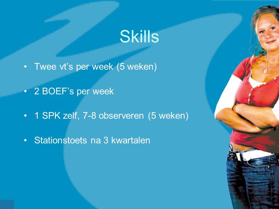 werkveldconferentie maart 2006 Skills Twee vt's per week (5 weken) 2 BOEF's per week 1 SPK zelf, 7-8 observeren (5 weken) Stationstoets na 3 kwartalen