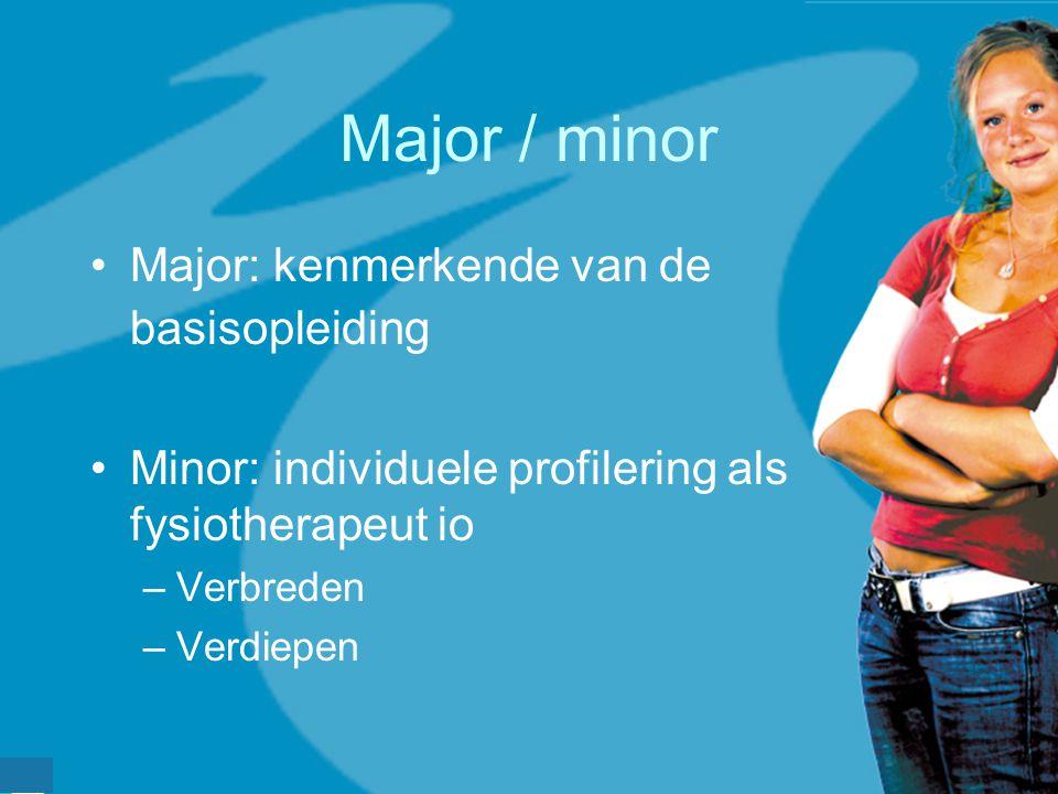 werkveldconferentie maart 2006 Major / minor Major: kenmerkende van de basisopleiding Minor: individuele profilering als fysiotherapeut io –Verbreden