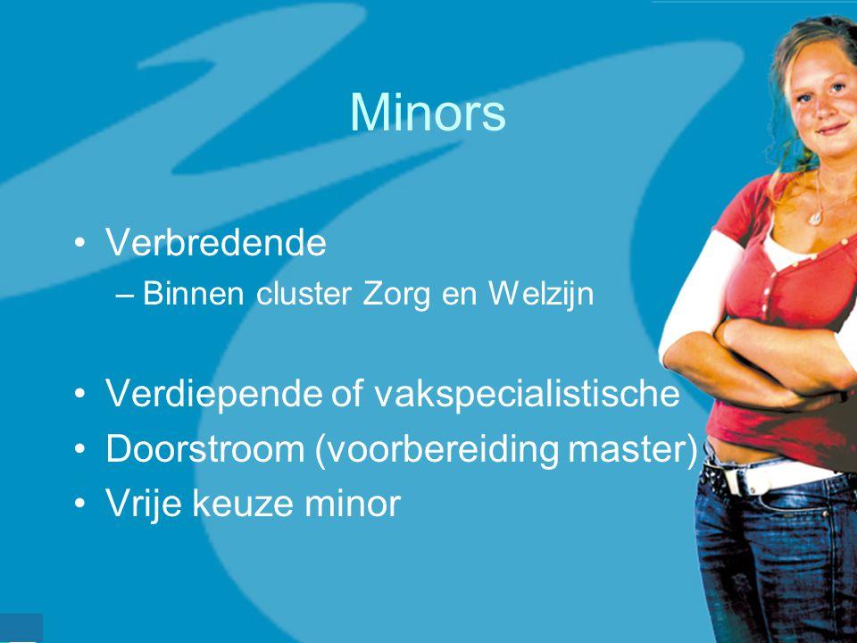 werkveldconferentie maart 2006 Minors Verbredende –Binnen cluster Zorg en Welzijn Verdiepende of vakspecialistische Doorstroom (voorbereiding master)