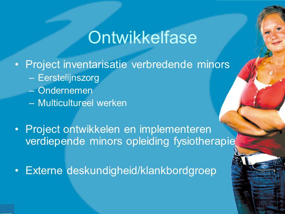 werkveldconferentie maart 2006 Ontwikkelfase Project inventarisatie verbredende minors –Eerstelijnszorg –Ondernemen –Multicultureel werken Project ont