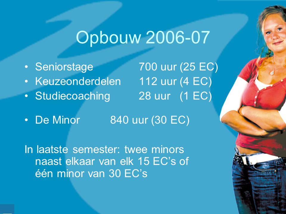 Opbouw 2006-07 Seniorstage700 uur (25 EC) Keuzeonderdelen112 uur (4 EC) Studiecoaching 28 uur (1 EC) De Minor840 uur (30 EC) In laatste semester: twee