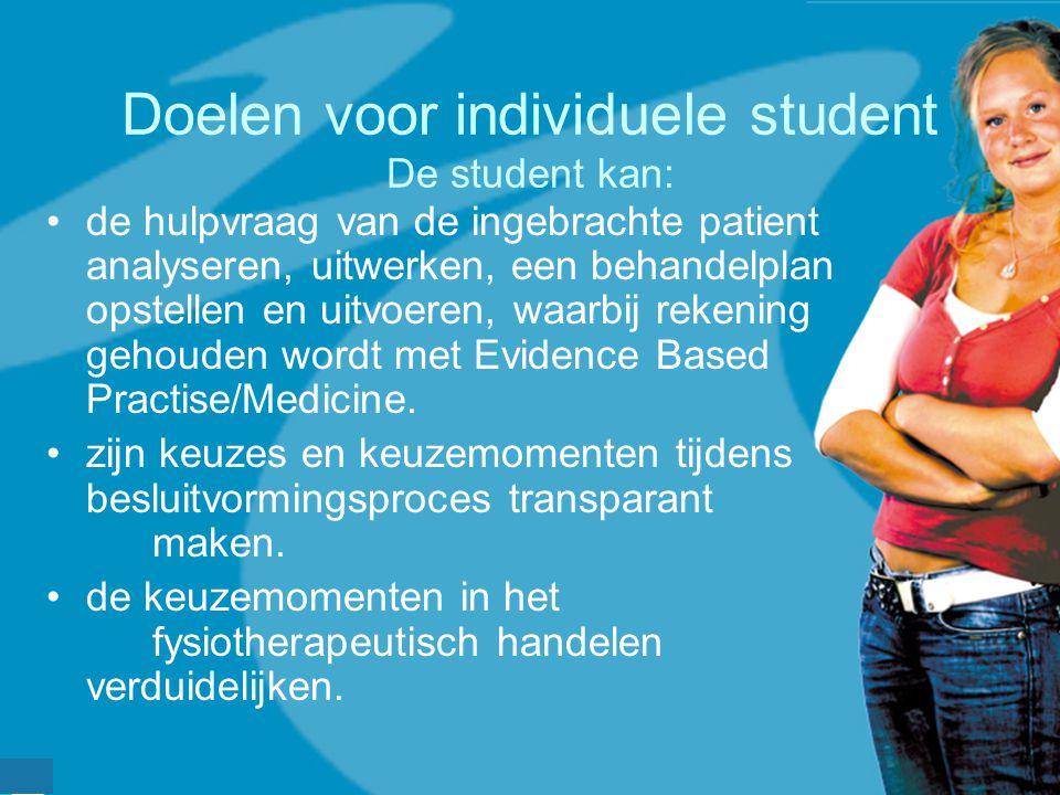 werkveldconferentie maart 2006 Doelen voor individuele student De student kan: de hulpvraag van de ingebrachte patient analyseren, uitwerken, een beha