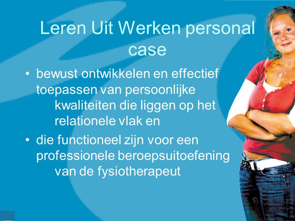 werkveldconferentie maart 2006 Leren Uit Werken personal case bewust ontwikkelen en effectief toepassen van persoonlijke kwaliteiten die liggen op het